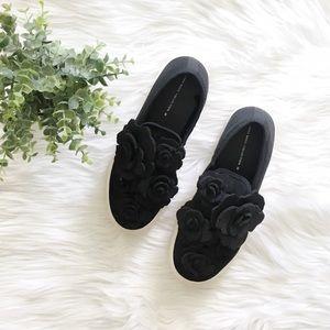 Zara Floral Black Slip On Platform Sneakers